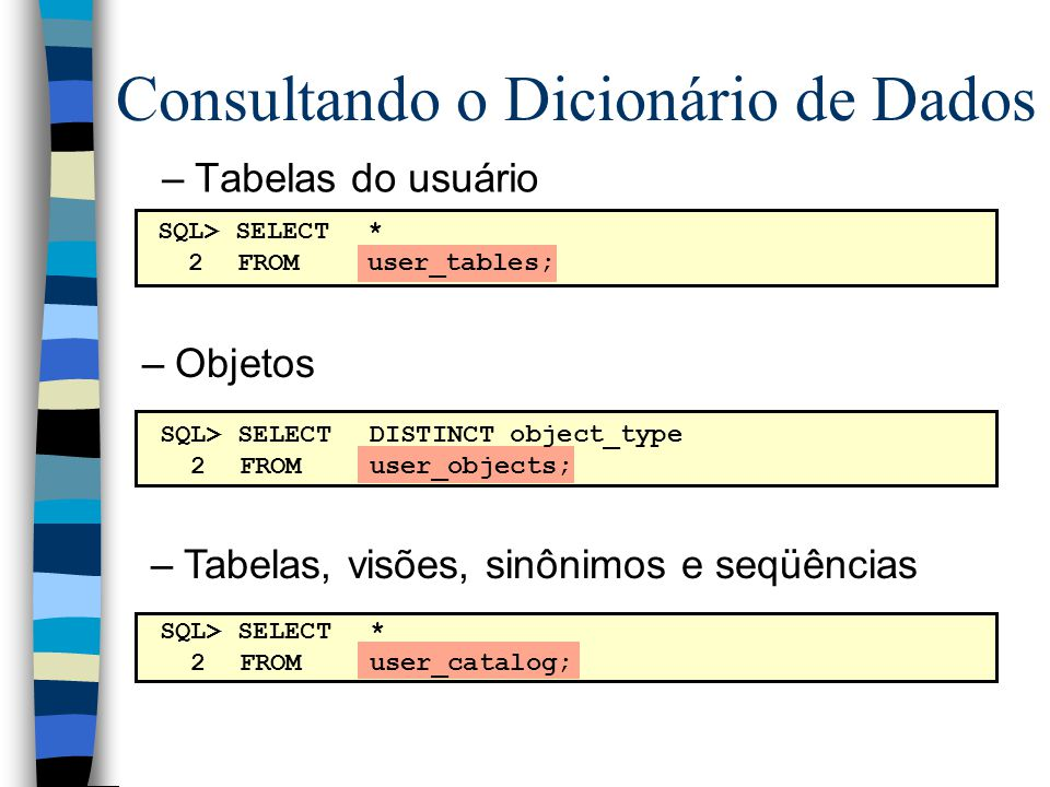 Consultando o Dicionário de Dados –Tabelas do usuário –Objetos –Tabelas, visões, sinônimos e seqüências SQL> SELECT* 2FROMuser_tables; SQL> SELECTDISTINCT object_type 2FROM user_objects; SQL> SELECT* 2FROMuser_catalog;