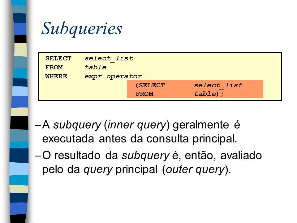 –A subquery (inner query) geralmente é executada antes da consulta principal. –O resultado da subquery é, então, avaliado pelo da query principal (out