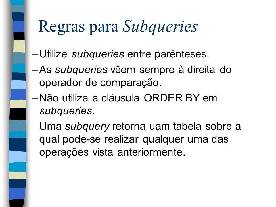Regras para Subqueries –Utilize subqueries entre parênteses. –As subqueries vêem sempre à direita do operador de comparação. –Não utiliza a cláusula O