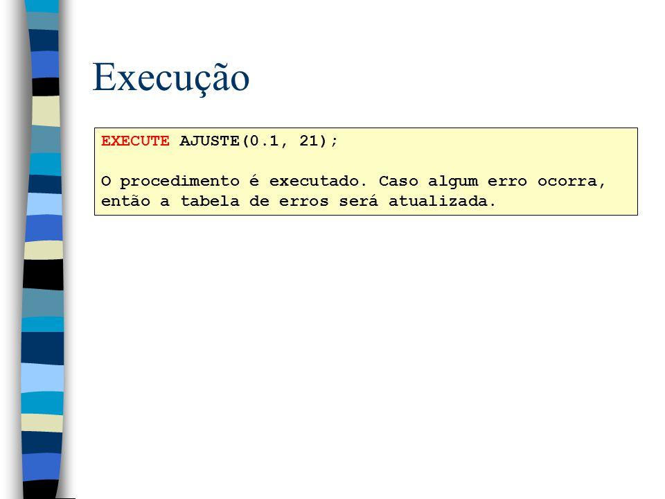 Execução EXECUTE AJUSTE(0.1, 21); O procedimento é executado. Caso algum erro ocorra, então a tabela de erros será atualizada.