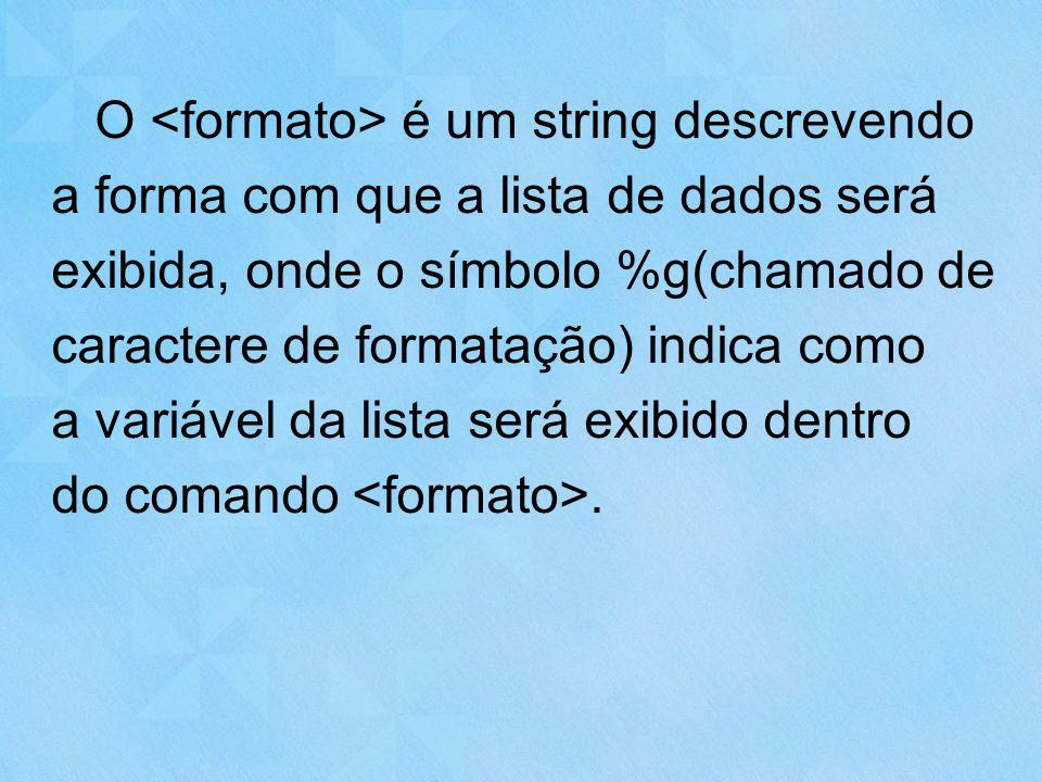 O é um string descrevendo a forma com que a lista de dados será exibida, onde o símbolo %g(chamado de caractere de formatação) indica como a variável