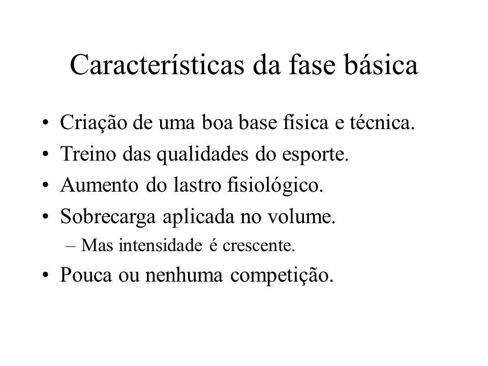 Características da fase básica Criação de uma boa base física e técnica.