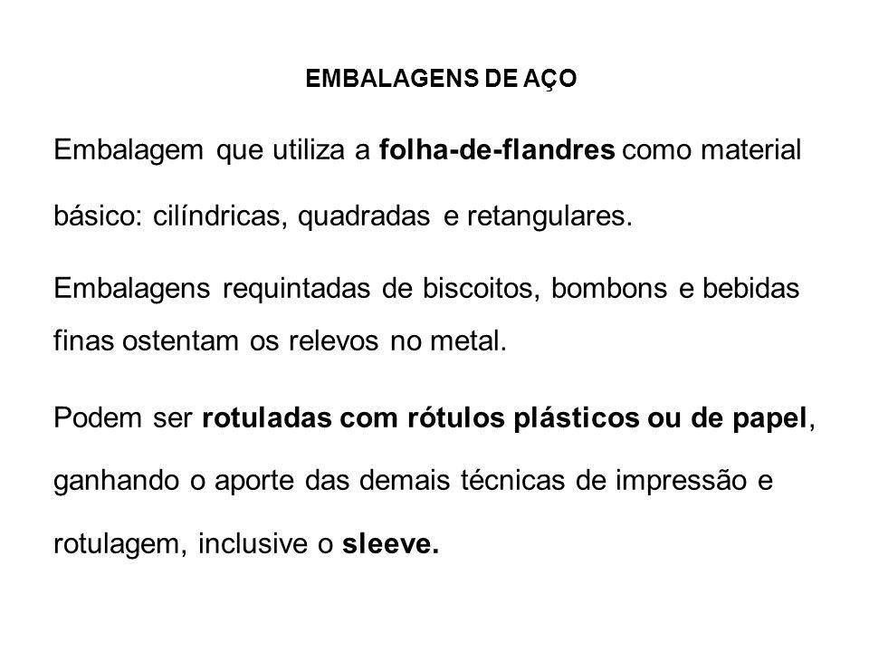 EMBALAGENS DE AÇO Embalagem que utiliza a folha-de-flandres como material básico: cilíndricas, quadradas e retangulares. Embalagens requintadas de bis