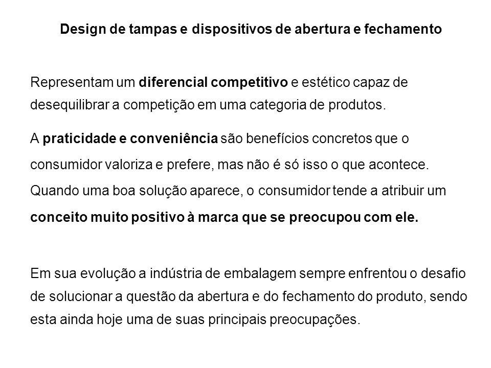 Design de tampas e dispositivos de abertura e fechamento Representam um diferencial competitivo e estético capaz de desequilibrar a competição em uma
