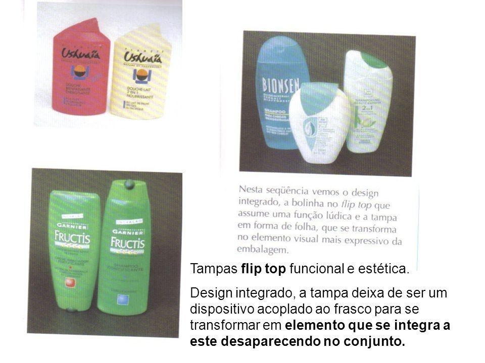 Tampas flip top funcional e estética. Design integrado, a tampa deixa de ser um dispositivo acoplado ao frasco para se transformar em elemento que se