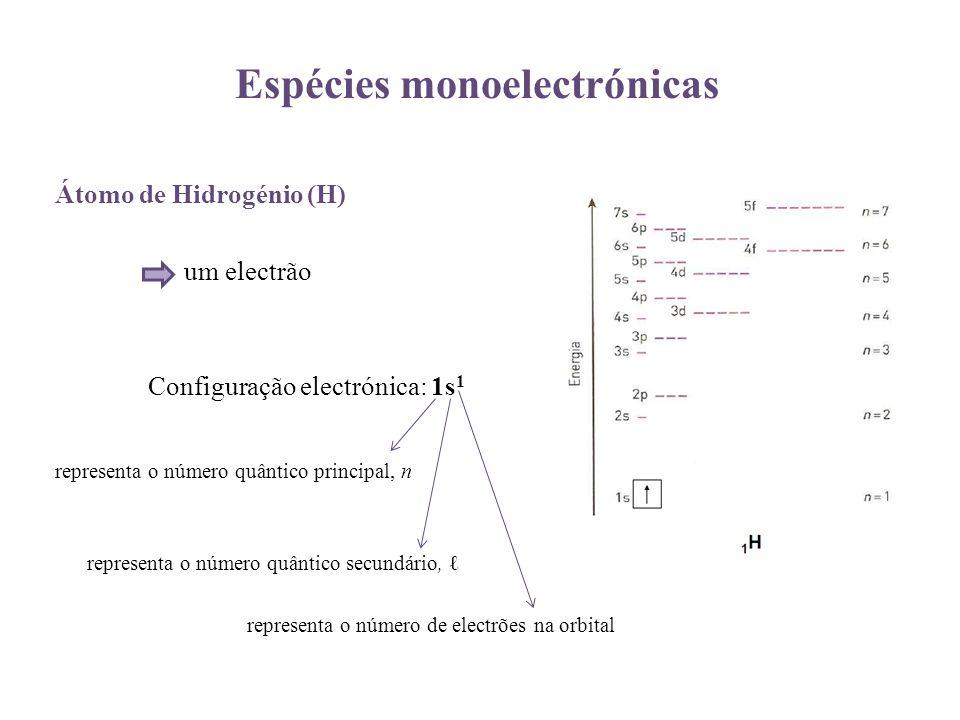 Espécies monoelectrónicas Átomo de Hidrogénio (H) um electrão Configuração electrónica: 1s 1 representa o número quântico principal, n representa o nú