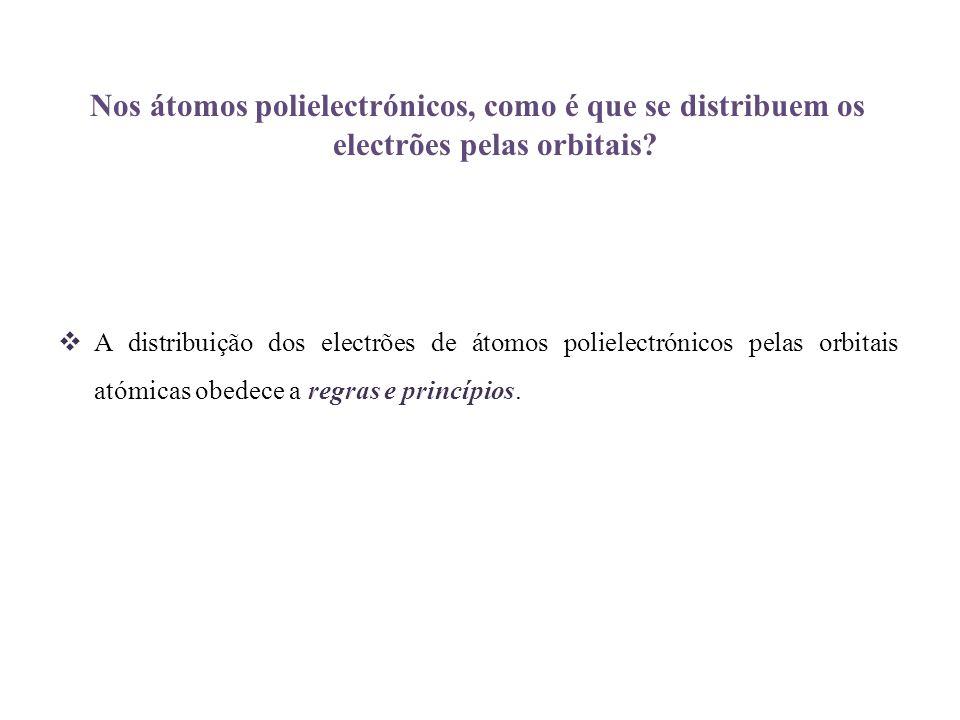 Nos átomos polielectrónicos, como é que se distribuem os electrões pelas orbitais? A distribuição dos electrões de átomos polielectrónicos pelas orbit
