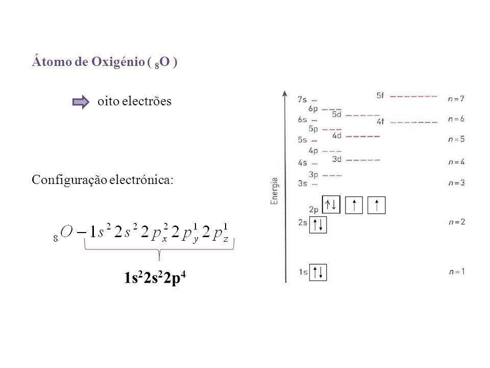 Átomo de Oxigénio ( 8 O ) oito electrões Configuração electrónica: 1s 2 2s 2 2p 4