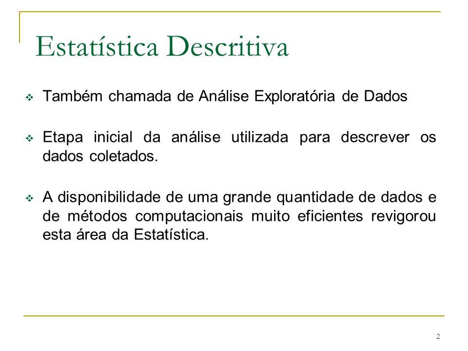 2 Também chamada de Análise Exploratória de Dados Etapa inicial da análise utilizada para descrever os dados coletados. A disponibilidade de uma grand