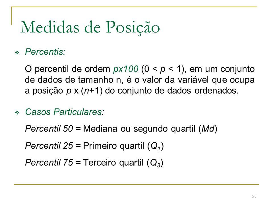 27 Medidas de Posição Percentis: O percentil de ordem px100 (0 < p < 1), em um conjunto de dados de tamanho n, é o valor da variável que ocupa a posiç