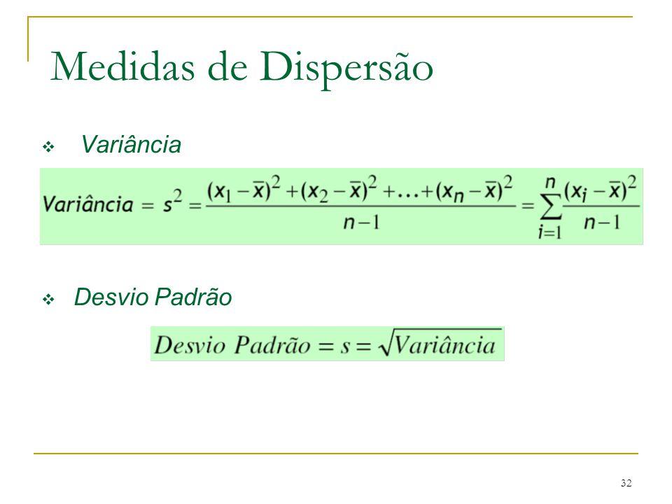 32 Medidas de Dispersão Variância Desvio Padrão