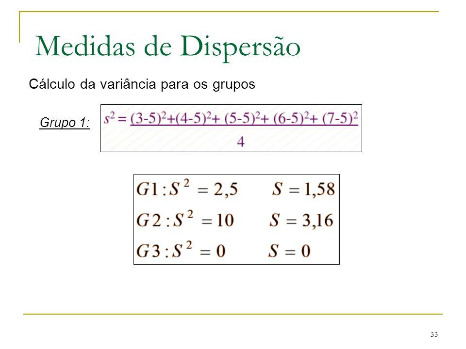 33 Medidas de Dispersão Cálculo da variância para os grupos Grupo 1: