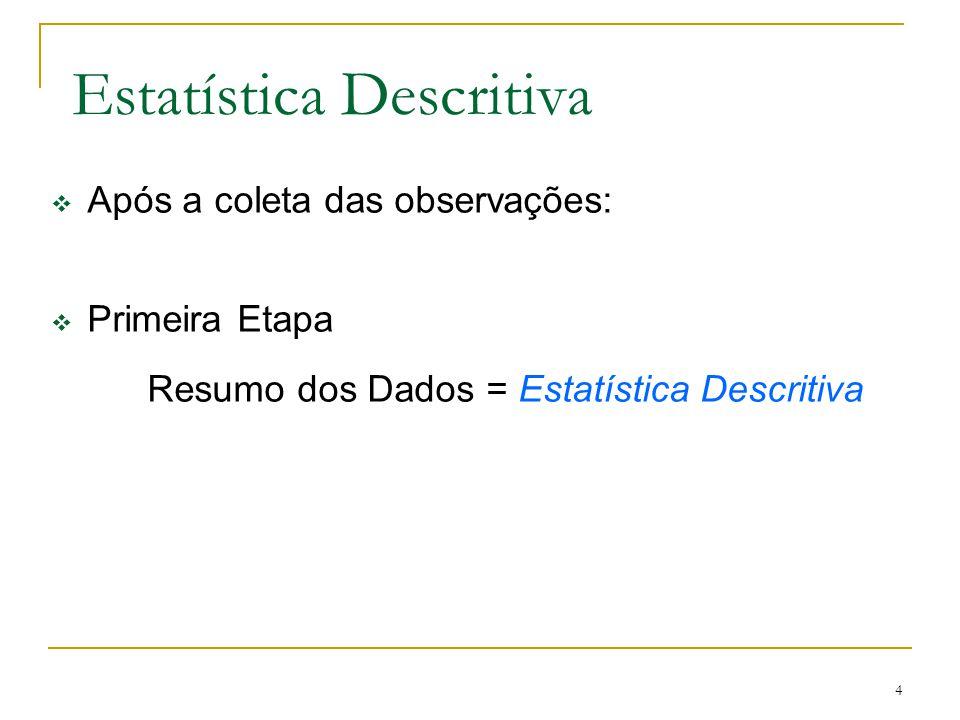 4 Estatística Descritiva Após a coleta das observações: Primeira Etapa Resumo dos Dados = Estatística Descritiva