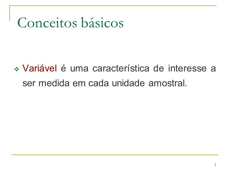 5 Conceitos básicos Variável é uma característica de interesse a ser medida em cada unidade amostral.