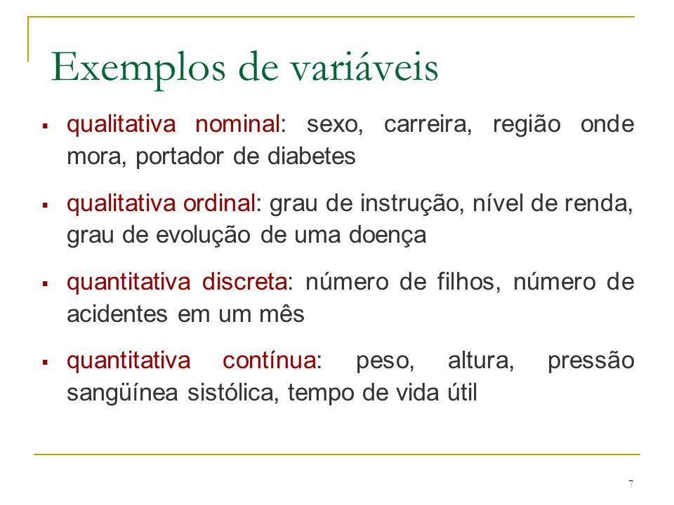 7 Exemplos de variáveis qualitativa nominal: sexo, carreira, região onde mora, portador de diabetes qualitativa ordinal: grau de instrução, nível de r