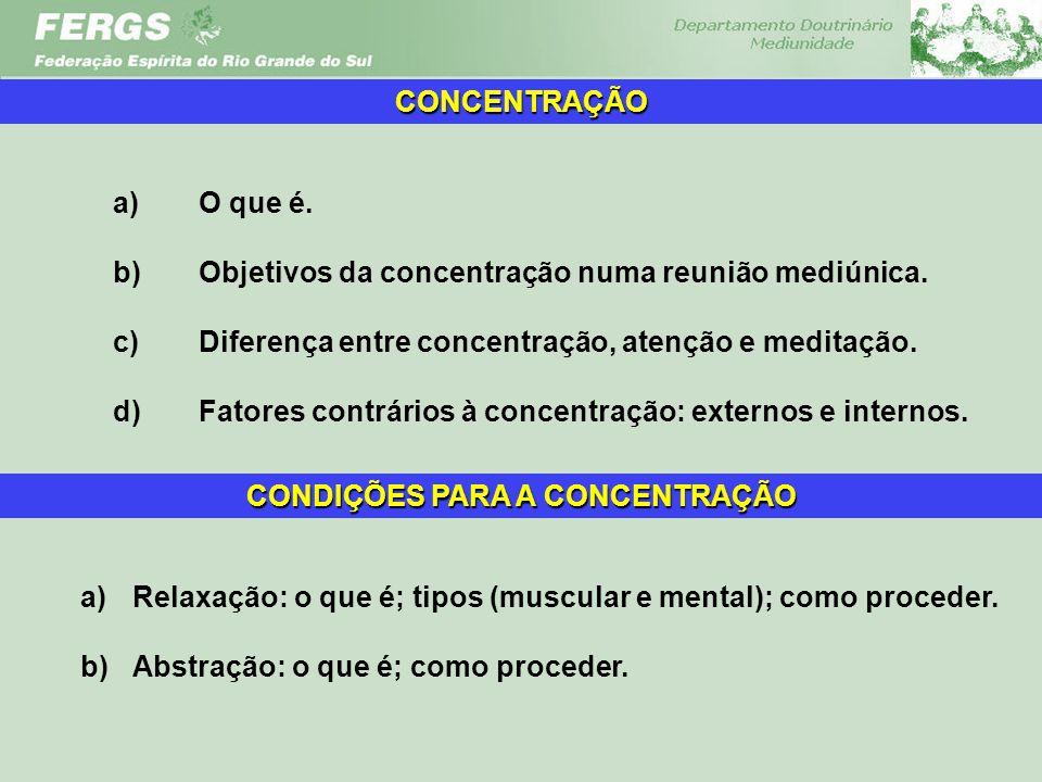 a)O que é. b)Objetivos da concentração numa reunião mediúnica. c)Diferença entre concentração, atenção e meditação. d)Fatores contrários à concentraçã
