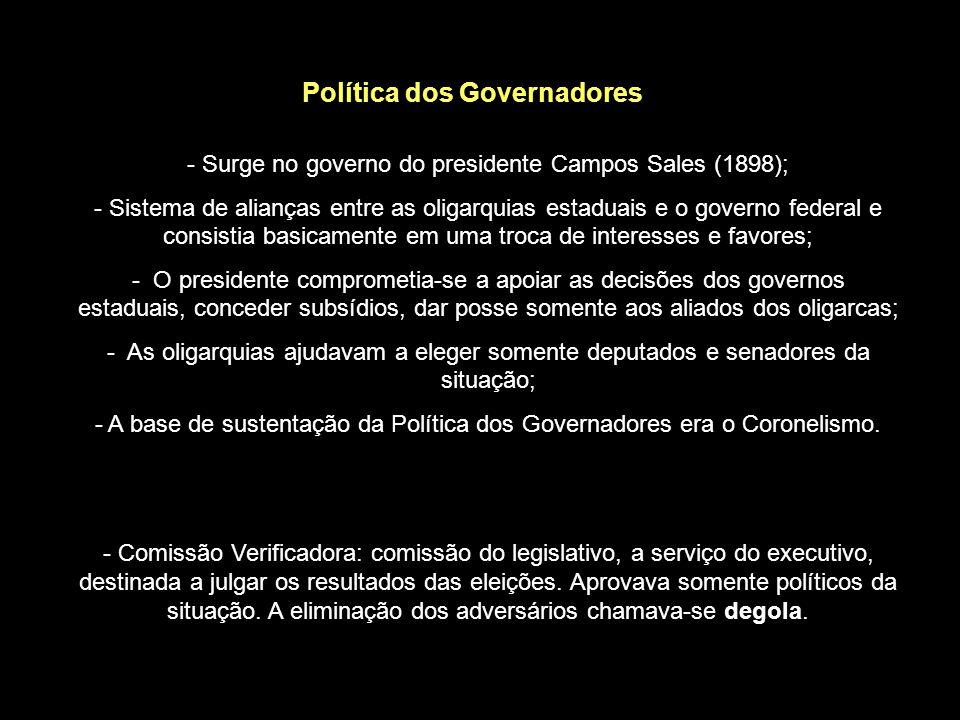 Coronelismo - A denominação coronel refere-se aos coronéis da antiga Guarda Nacional, que eram em sua grande maioria proprietários rurais com grande base local de poder.