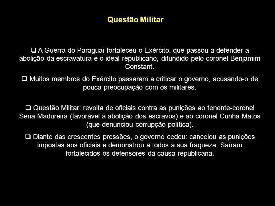 Questão Religiosa Características da Igreja no Brasil: Padroado: regime pelo qual a Igreja era submetida ao Estado. Beneplácito: autorização imperial