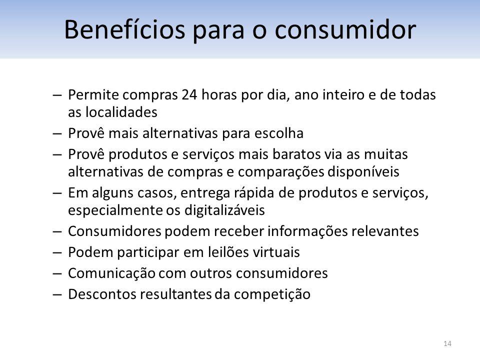 14 – Permite compras 24 horas por dia, ano inteiro e de todas as localidades – Provê mais alternativas para escolha – Provê produtos e serviços mais b