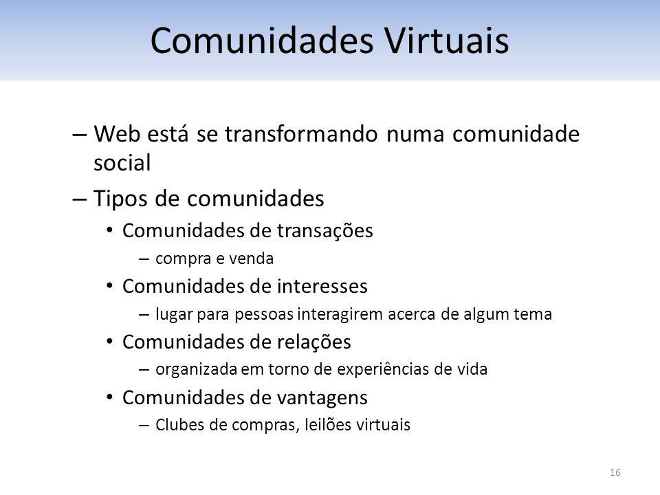 16 – Web está se transformando numa comunidade social – Tipos de comunidades Comunidades de transações – compra e venda Comunidades de interesses – lu
