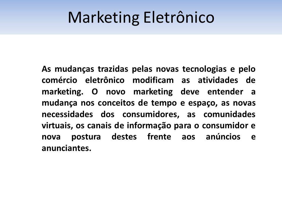 Marketing Eletrônico As mudanças trazidas pelas novas tecnologias e pelo comércio eletrônico modificam as atividades de marketing. O novo marketing de