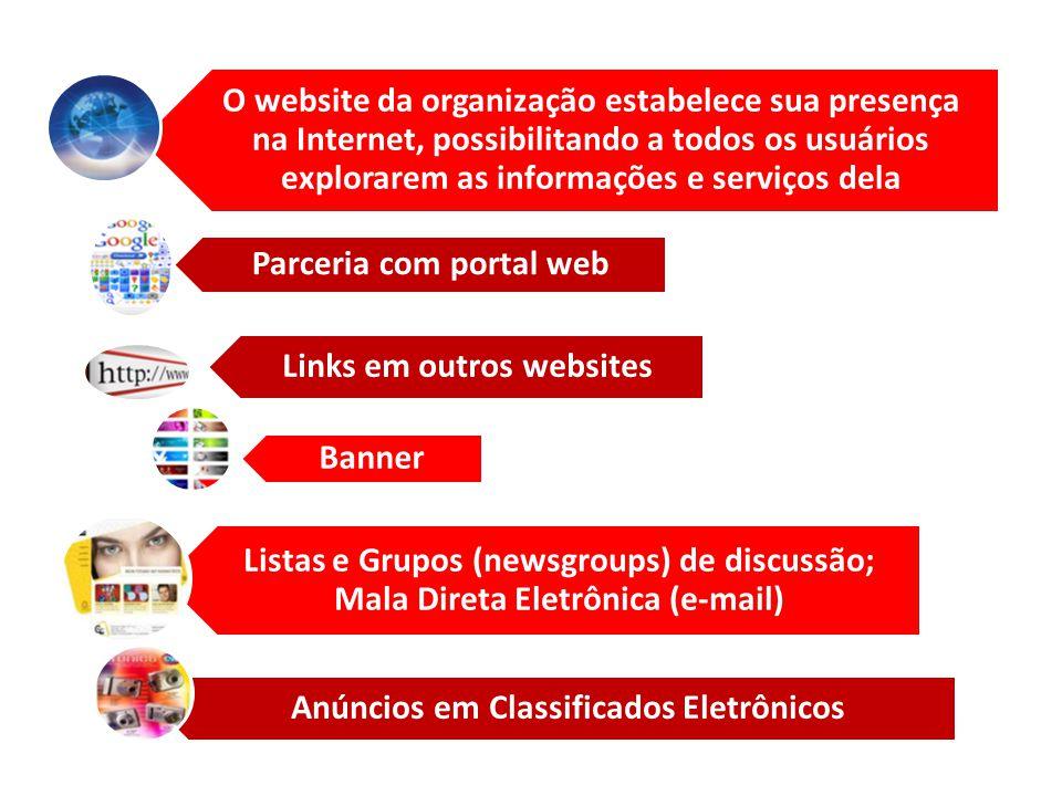 O website da organização estabelece sua presença na Internet, possibilitando a todos os usuários explorarem as informações e serviços dela Parceria co