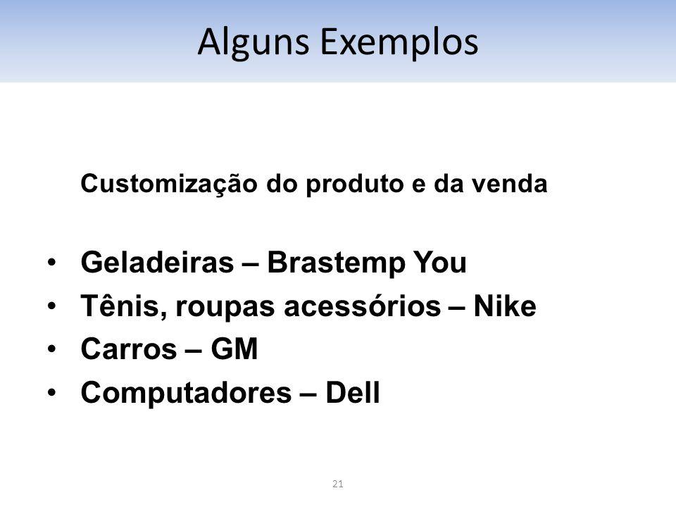 21 Customização do produto e da venda Geladeiras – Brastemp You Tênis, roupas acessórios – Nike Carros – GM Computadores – Dell Alguns Exemplos