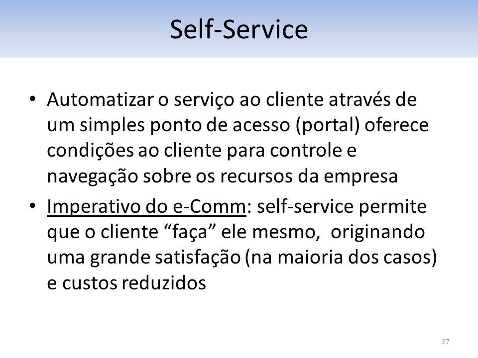 37 Automatizar o serviço ao cliente através de um simples ponto de acesso (portal) oferece condições ao cliente para controle e navegação sobre os rec