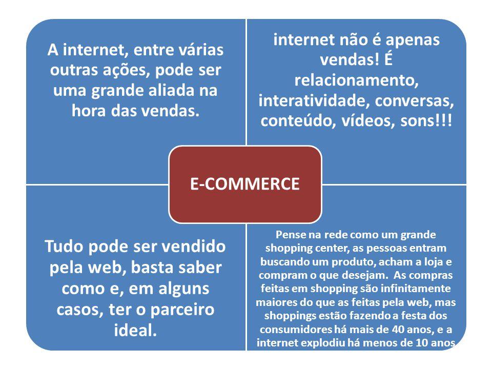 A internet, entre várias outras ações, pode ser uma grande aliada na hora das vendas. internet não é apenas vendas! É relacionamento, interatividade,