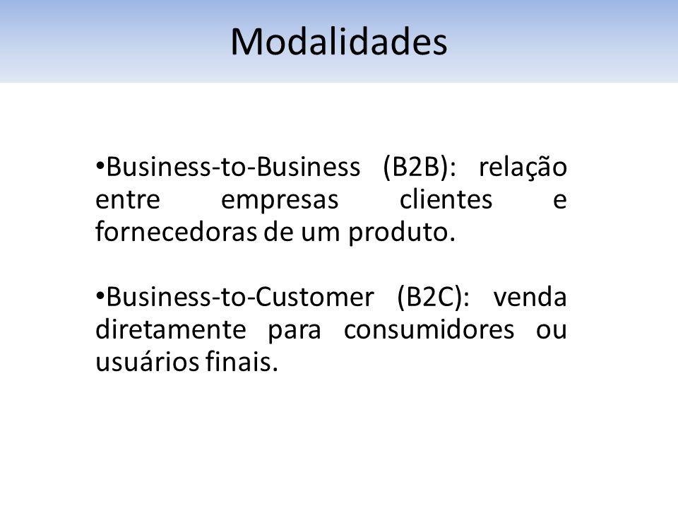Modalidades Business-to-Business (B2B): relação entre empresas clientes e fornecedoras de um produto. Business-to-Customer (B2C): venda diretamente pa