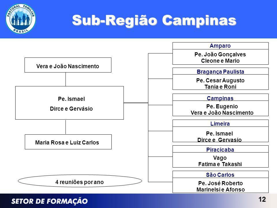 Sub-Região Campinas 12 Pe. Ismael Dirce e Gervásio Campinas Bragança Paulista Pe. Cesar Augusto Tania e Roni Amparo Pe. João Gonçalves Cleone e Mario
