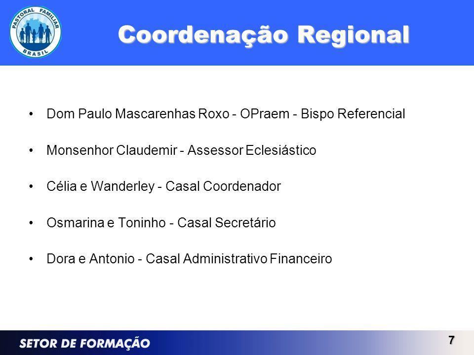 Coordenação Regional Dom Paulo Mascarenhas Roxo - OPraem - Bispo Referencial Monsenhor Claudemir - Assessor Eclesiástico Célia e Wanderley - Casal Coo