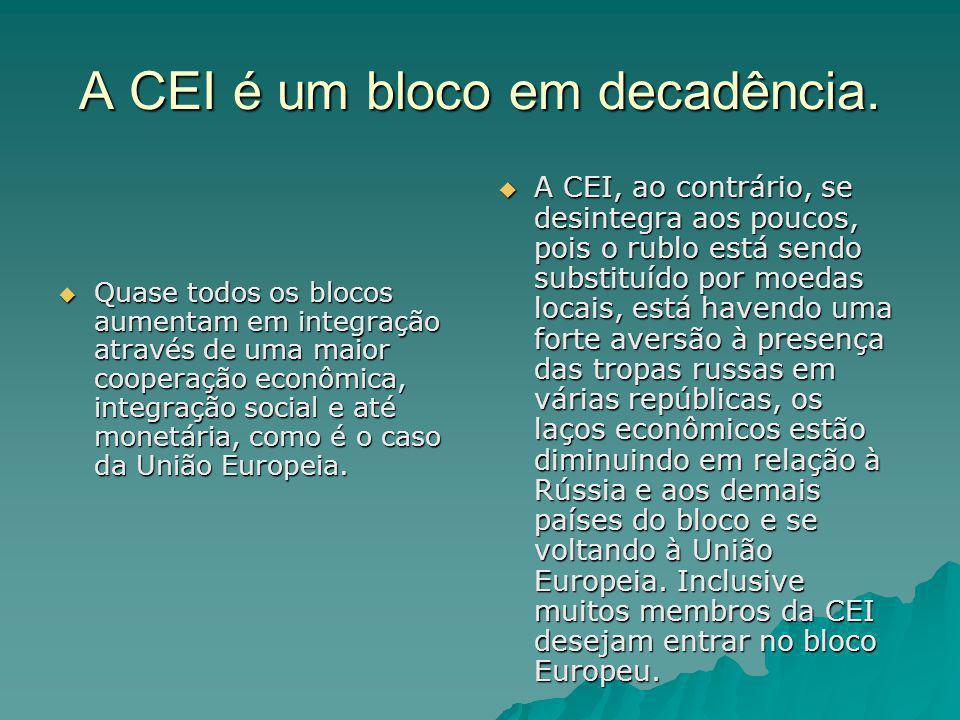 A CEI é um bloco em decadência. Quase todos os blocos aumentam em integração através de uma maior cooperação econômica, integração social e até monetá