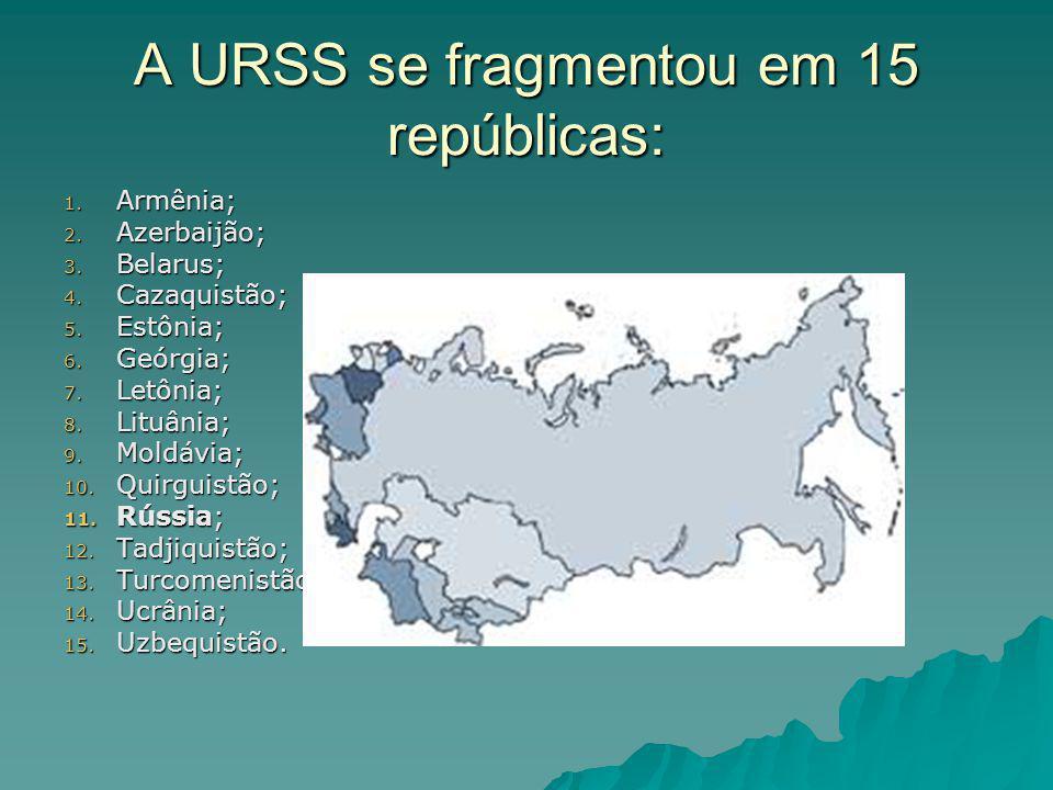 A URSS se fragmentou em 15 repúblicas: 1. Armênia; 2. Azerbaijão; 3. Belarus; 4. Cazaquistão; 5. Estônia; 6. Geórgia; 7. Letônia; 8. Lituânia; 9. Mold