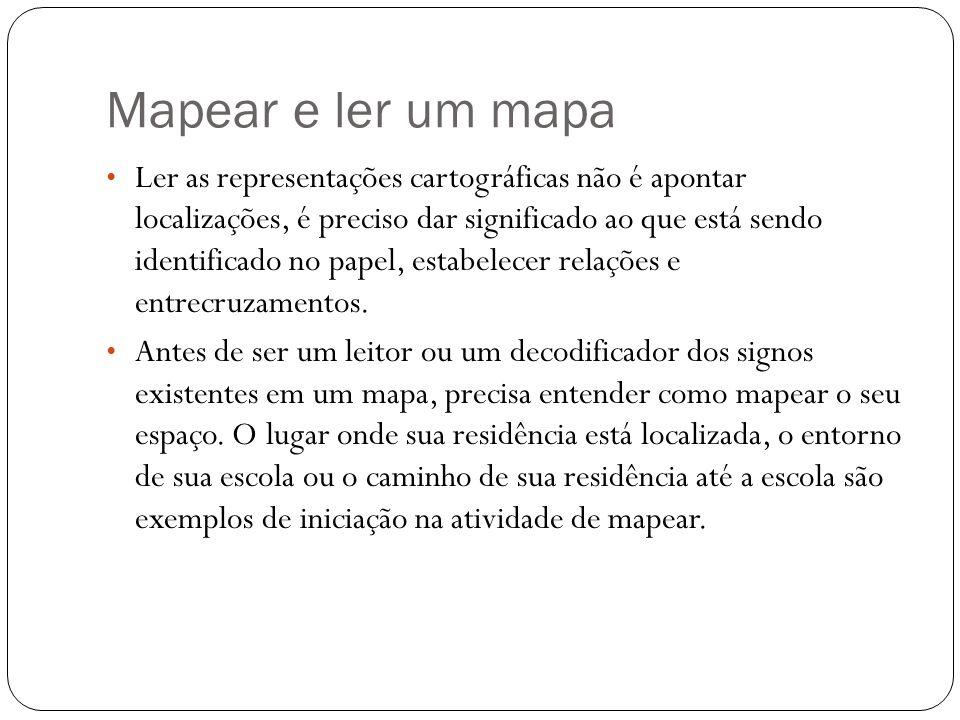 Mapear e ler um mapa Ler as representações cartográficas não é apontar localizações, é preciso dar significado ao que está sendo identificado no papel