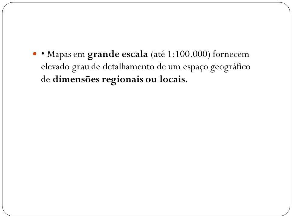 Mapas em grande escala (até 1:100.000) fornecem elevado grau de detalhamento de um espaço geográfico de dimensões regionais ou locais.