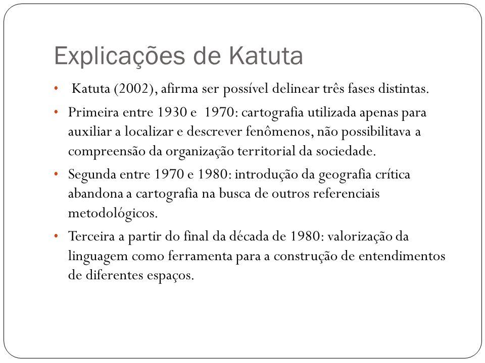 Explicações de Katuta Katuta (2002), afirma ser possível delinear três fases distintas. Primeira entre 1930 e 1970: cartografia utilizada apenas para