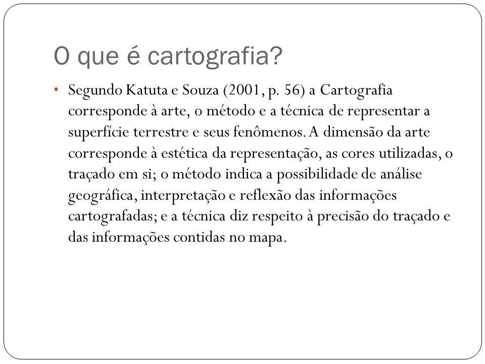 O que é cartografia? Segundo Katuta e Souza (2001, p. 56) a Cartografia corresponde à arte, o método e a técnica de representar a superfície terrestre