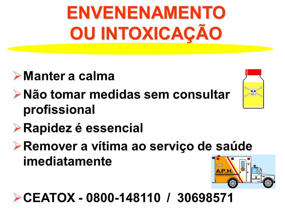 ENVENENAMENTO OU INTOXICAÇÃO Manter a calma Não tomar medidas sem consultar profissional Rapidez é essencial Remover a vítima ao serviço de saúde imediatamente CEATOX - 0800-148110 / 30698571