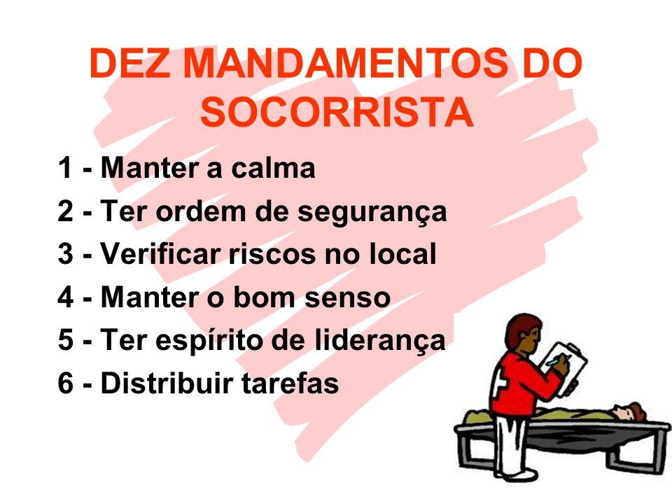 DEZ MANDAMENTOS DO SOCORRISTA 1 - Manter a calma 2 - Ter ordem de segurança 3 - Verificar riscos no local 4 - Manter o bom senso 5 - Ter espírito de liderança 6 - Distribuir tarefas