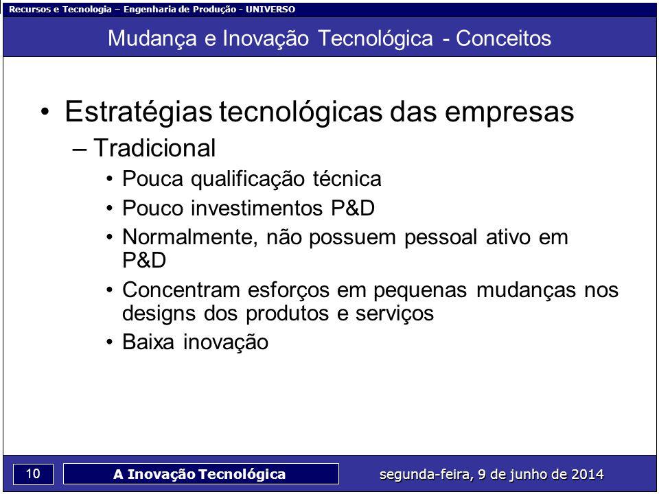 Recursos e Tecnologia – Engenharia de Produção - UNIVERSO 10 segunda-feira, 9 de junho de 2014 A Inovação Tecnológica Mudança e Inovação Tecnológica -