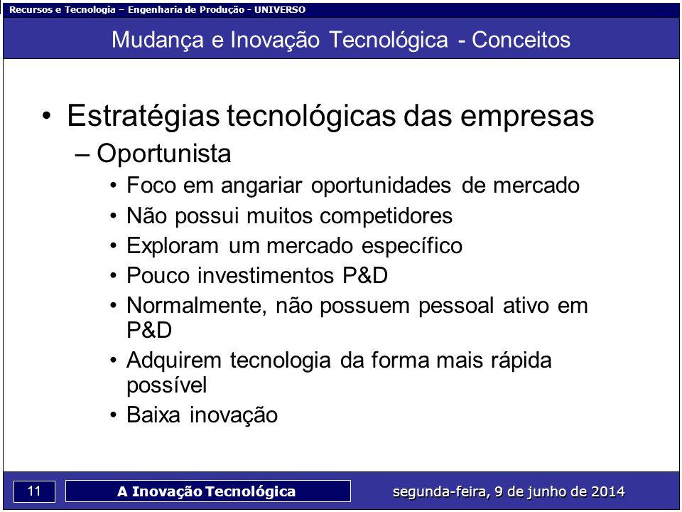 Recursos e Tecnologia – Engenharia de Produção - UNIVERSO 11 segunda-feira, 9 de junho de 2014 A Inovação Tecnológica Mudança e Inovação Tecnológica -