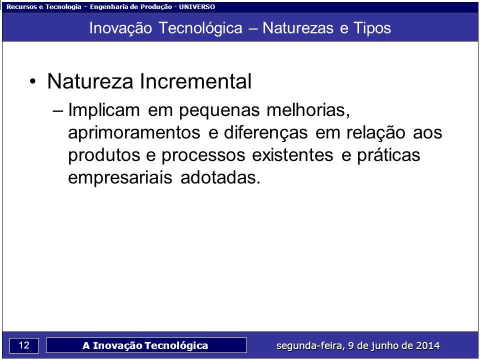 Recursos e Tecnologia – Engenharia de Produção - UNIVERSO 12 segunda-feira, 9 de junho de 2014 A Inovação Tecnológica Inovação Tecnológica – Naturezas