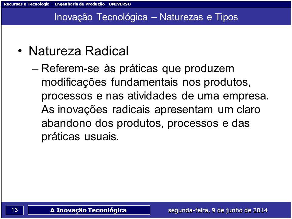 Recursos e Tecnologia – Engenharia de Produção - UNIVERSO 13 segunda-feira, 9 de junho de 2014 A Inovação Tecnológica Inovação Tecnológica – Naturezas
