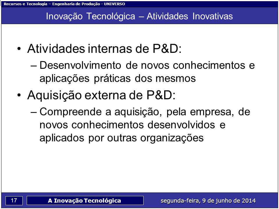 Recursos e Tecnologia – Engenharia de Produção - UNIVERSO 17 segunda-feira, 9 de junho de 2014 A Inovação Tecnológica Inovação Tecnológica – Atividade