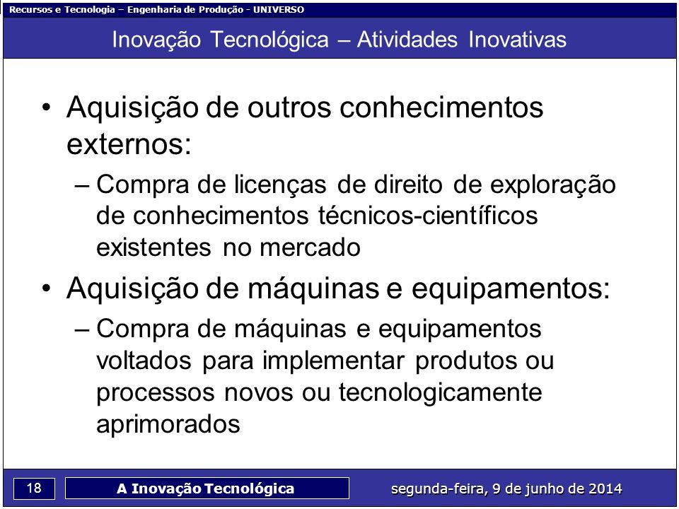 Recursos e Tecnologia – Engenharia de Produção - UNIVERSO 18 segunda-feira, 9 de junho de 2014 A Inovação Tecnológica Inovação Tecnológica – Atividade