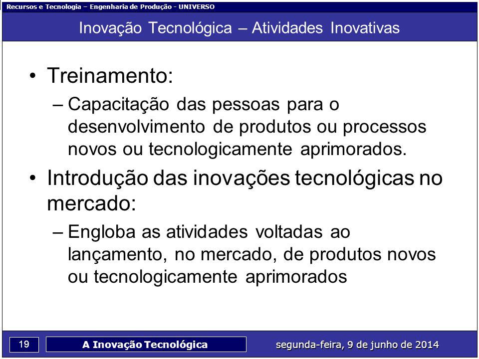 Recursos e Tecnologia – Engenharia de Produção - UNIVERSO 19 segunda-feira, 9 de junho de 2014 A Inovação Tecnológica Inovação Tecnológica – Atividade
