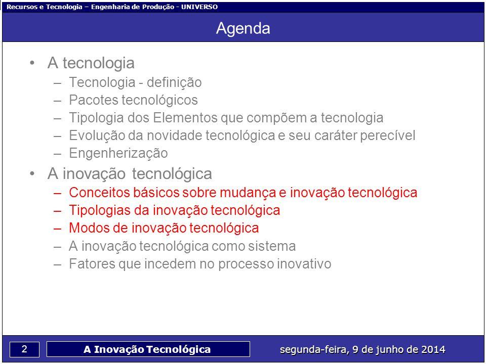 Recursos e Tecnologia – Engenharia de Produção - UNIVERSO 2 segunda-feira, 9 de junho de 2014 A Inovação Tecnológica Agenda A tecnologia –Tecnologia -