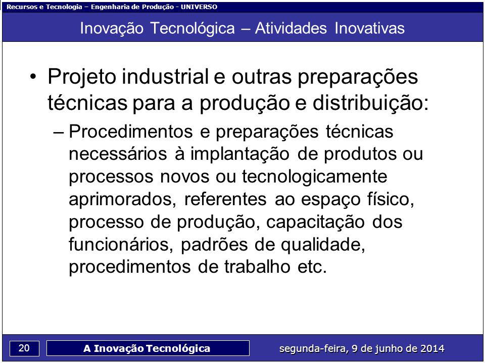 Recursos e Tecnologia – Engenharia de Produção - UNIVERSO 20 segunda-feira, 9 de junho de 2014 A Inovação Tecnológica Inovação Tecnológica – Atividade