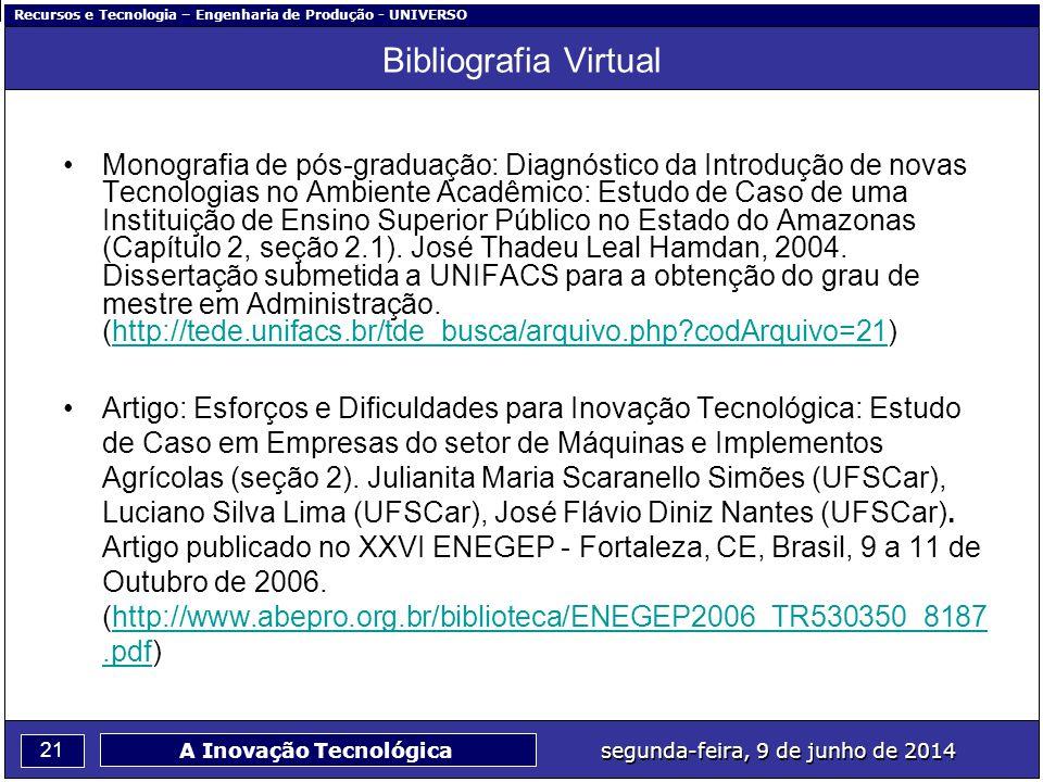 Recursos e Tecnologia – Engenharia de Produção - UNIVERSO 21 segunda-feira, 9 de junho de 2014 A Inovação Tecnológica Bibliografia Virtual Monografia